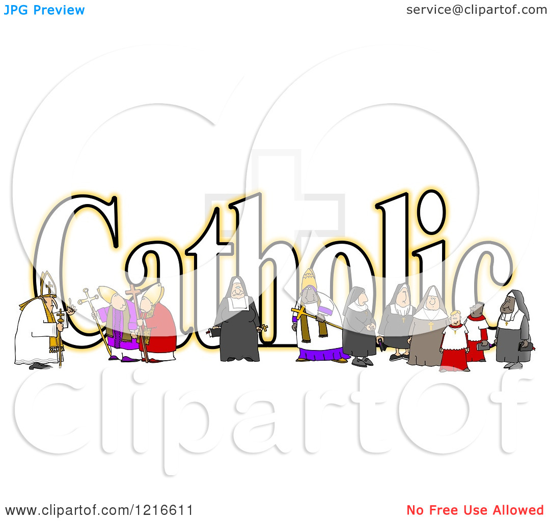 Clipart of a the Word Catholic with a Nun Bishops and Altar Boys.
