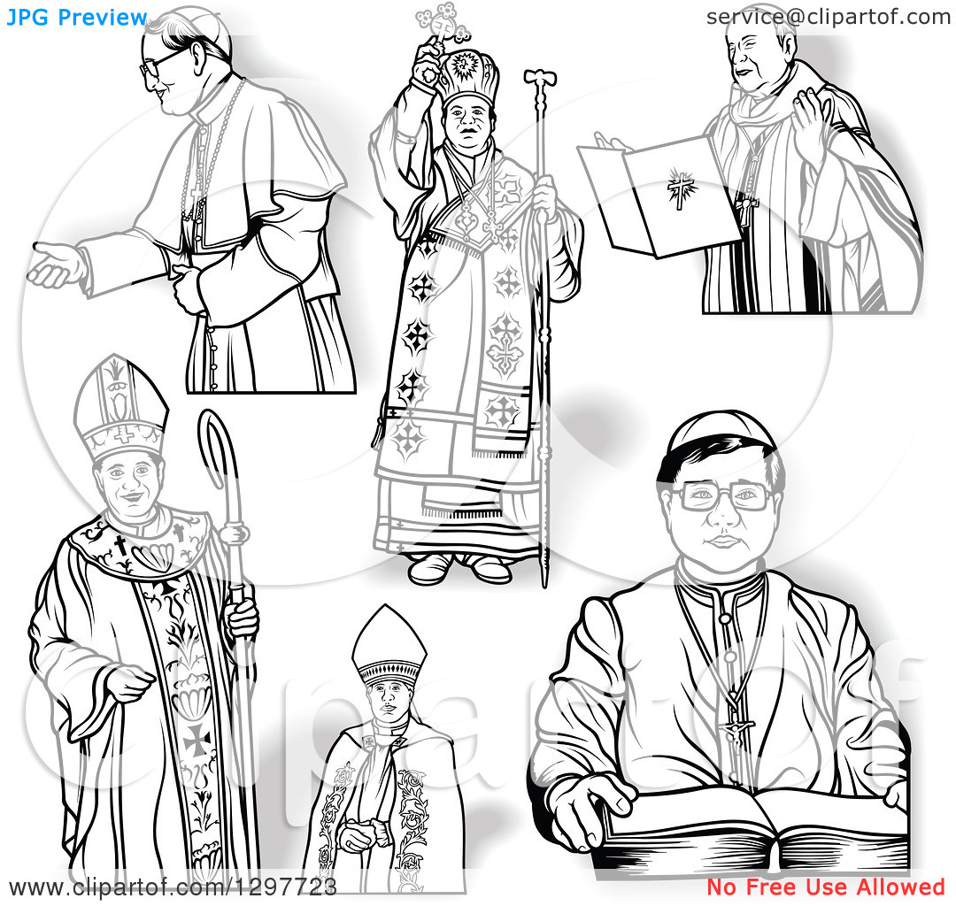 Clipart of Black and White Bishops and Shadows.