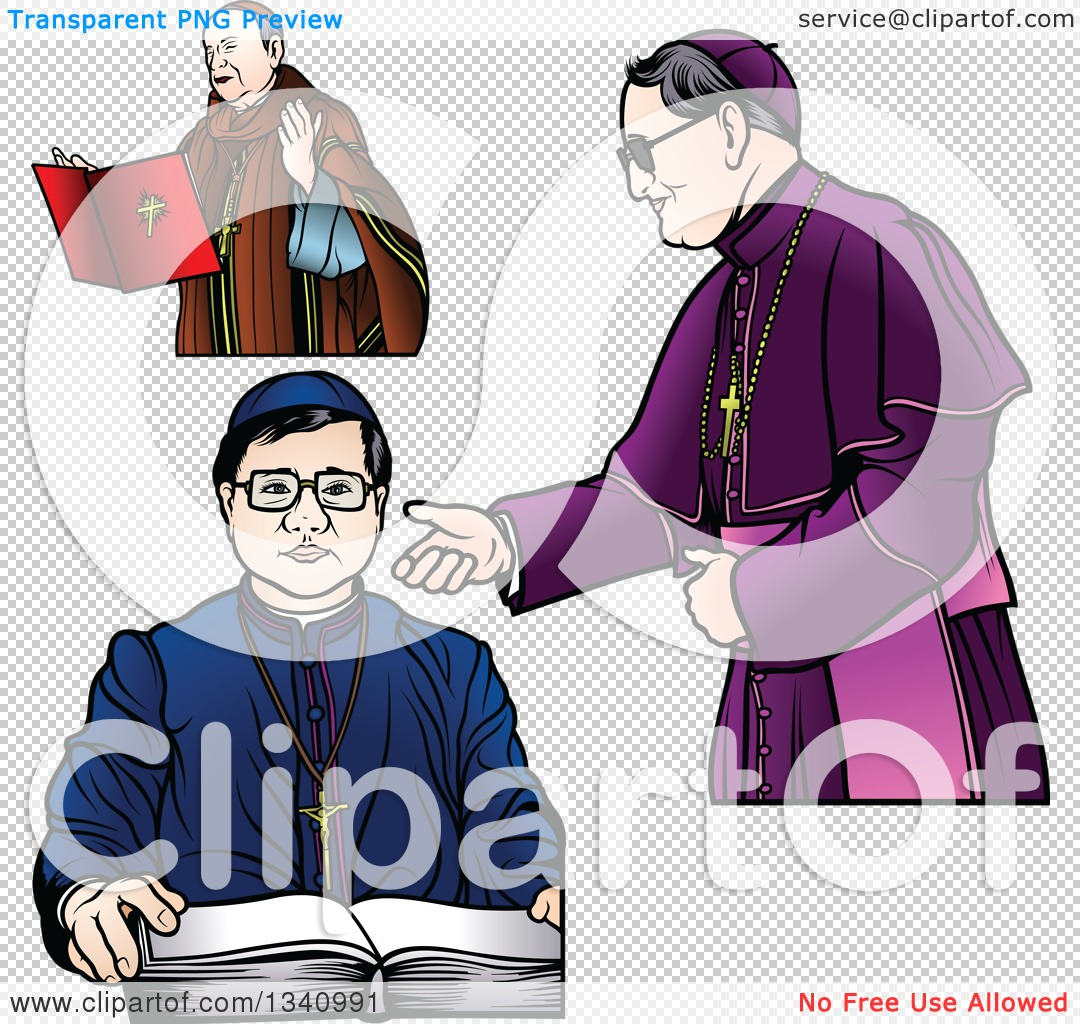 Clipart of Bishops in a Red, Blue and Purple Robes.