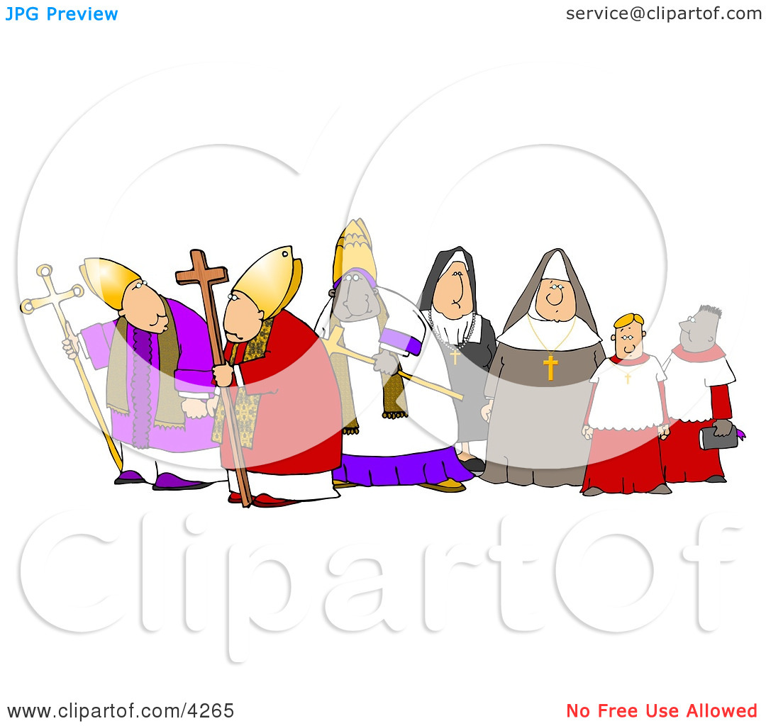 Group of Religious Nuns and Bishops Clipart by Dennis Cox #4265.