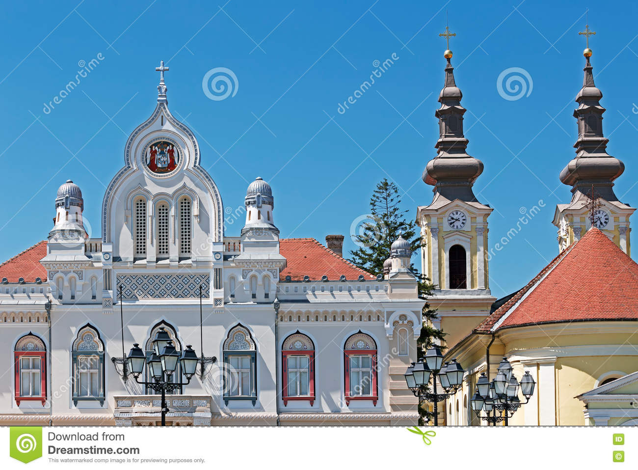 Orthodox Bishop Residence And Serbian Church In Timisoara, Roman.