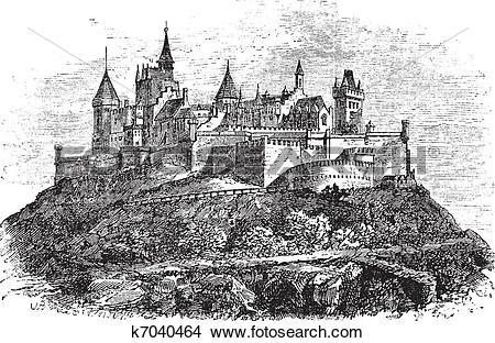 Clipart of Hohenzollern Castle or Burg Hohenzollern in Stuttgart.