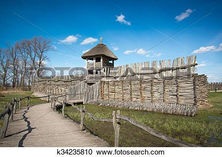 Stock Photography of Biskupin main gate k34235810.
