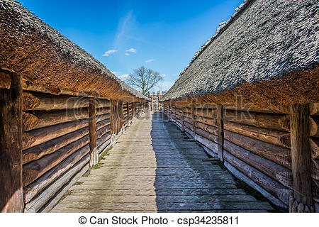 Stock Photography of Ancient slavic houses in Heritage Park in.