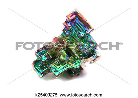 Stock Image of color bismuth crystal isolated k25409275.