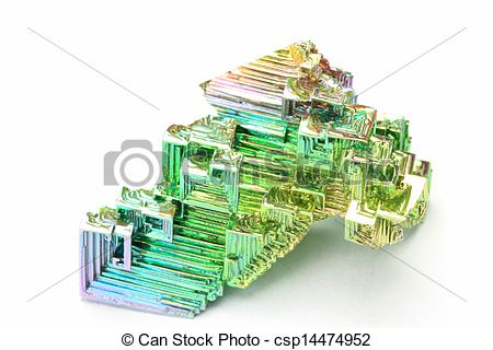 Stock Images of bismuth crystal.