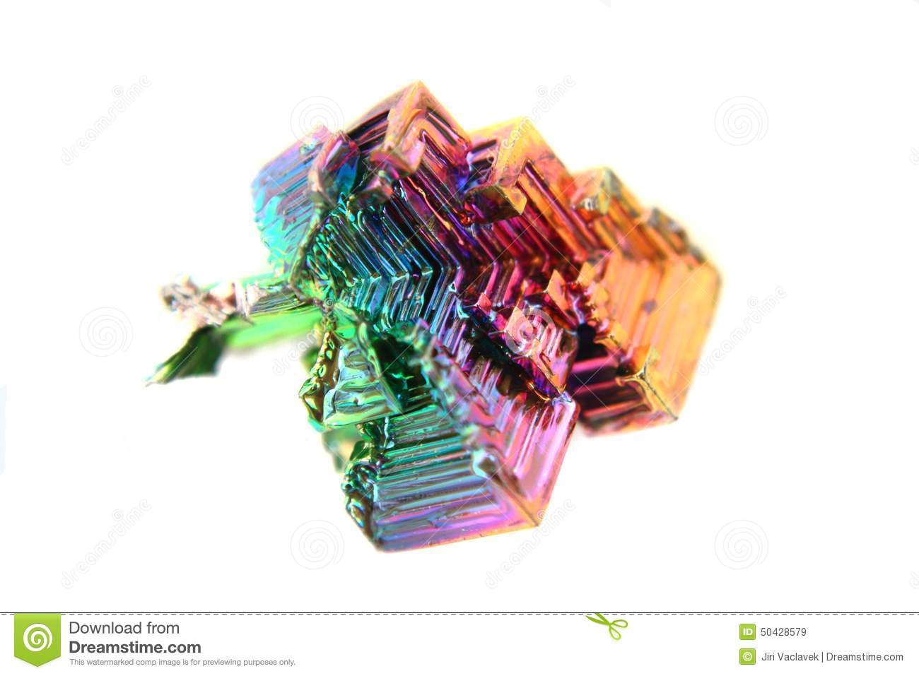 Color Bismuth Crystal Isolated Stock Photo.