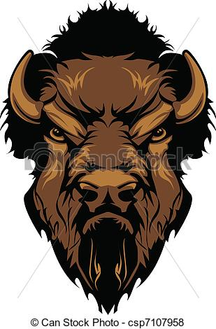 Vector of Buffalo Bison Mascot Head Graphic.