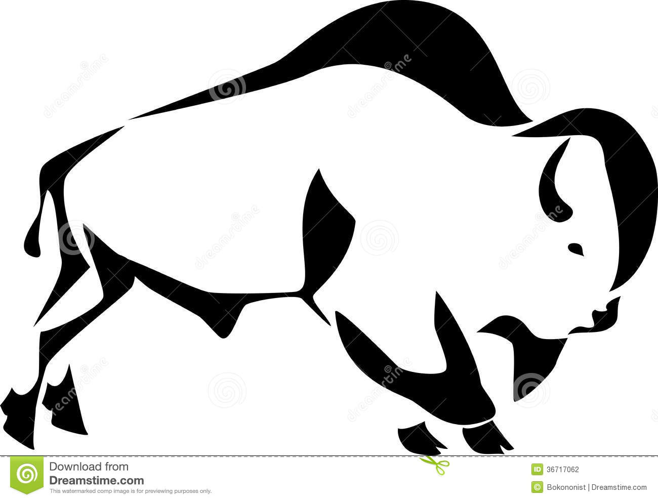 Bison Black And White Clipart.