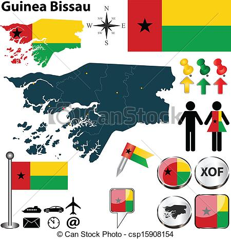 Clipart Vector of Map of Guinea Bissau.