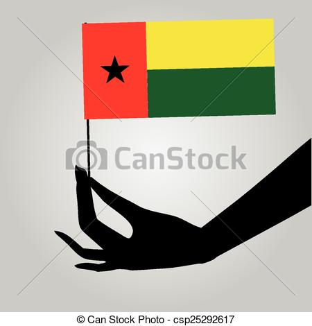 Vector Clip Art of Hand with flag Guinea.