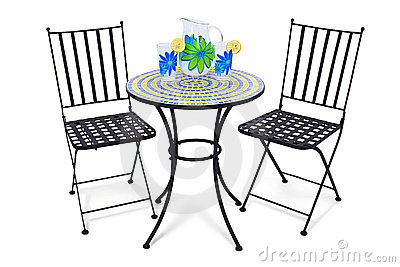 Bistro Table And Lemonade Royalty Free Stock Photos.