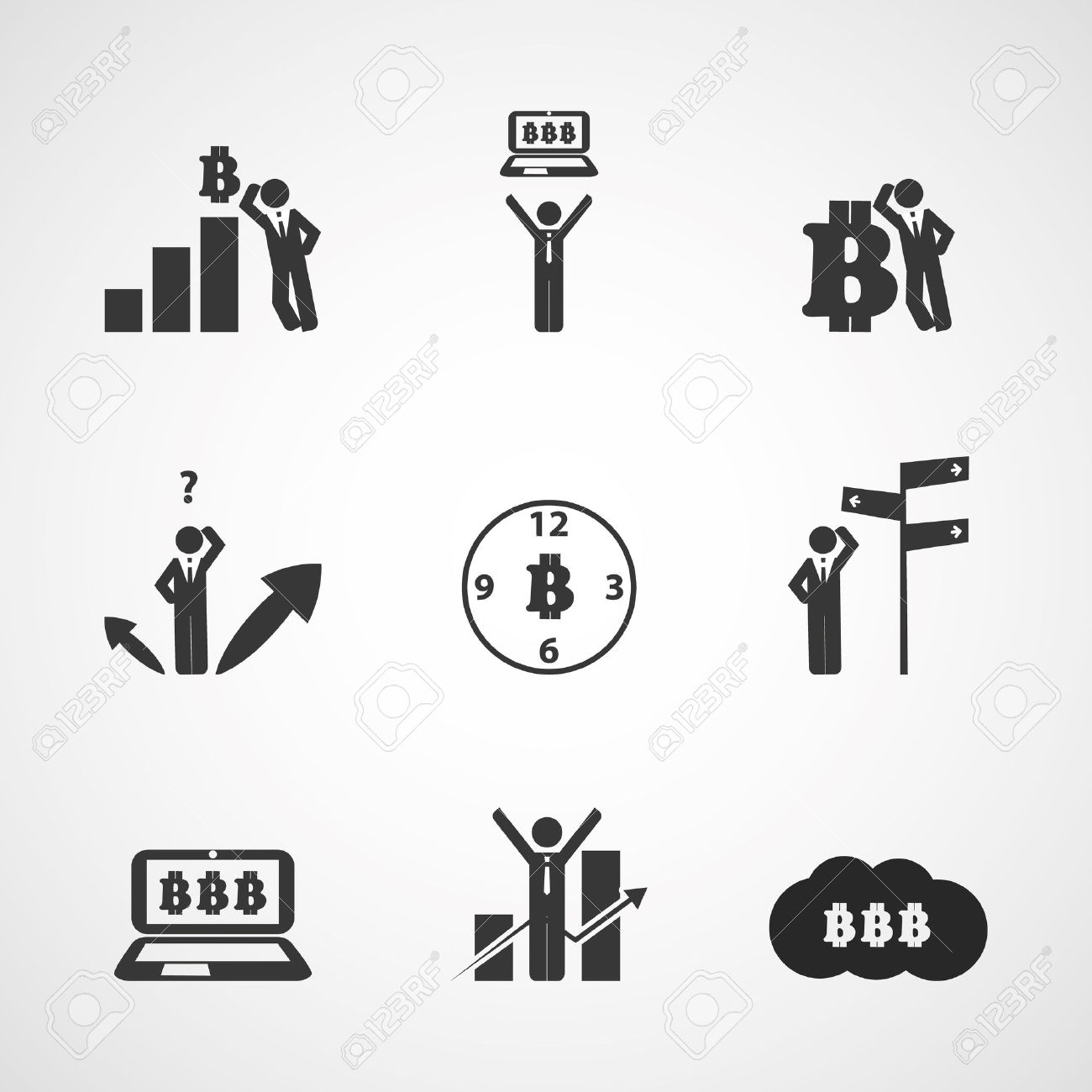 Set Of Bitcoin Illustration Designs Clipart Royalty Free Cliparts.