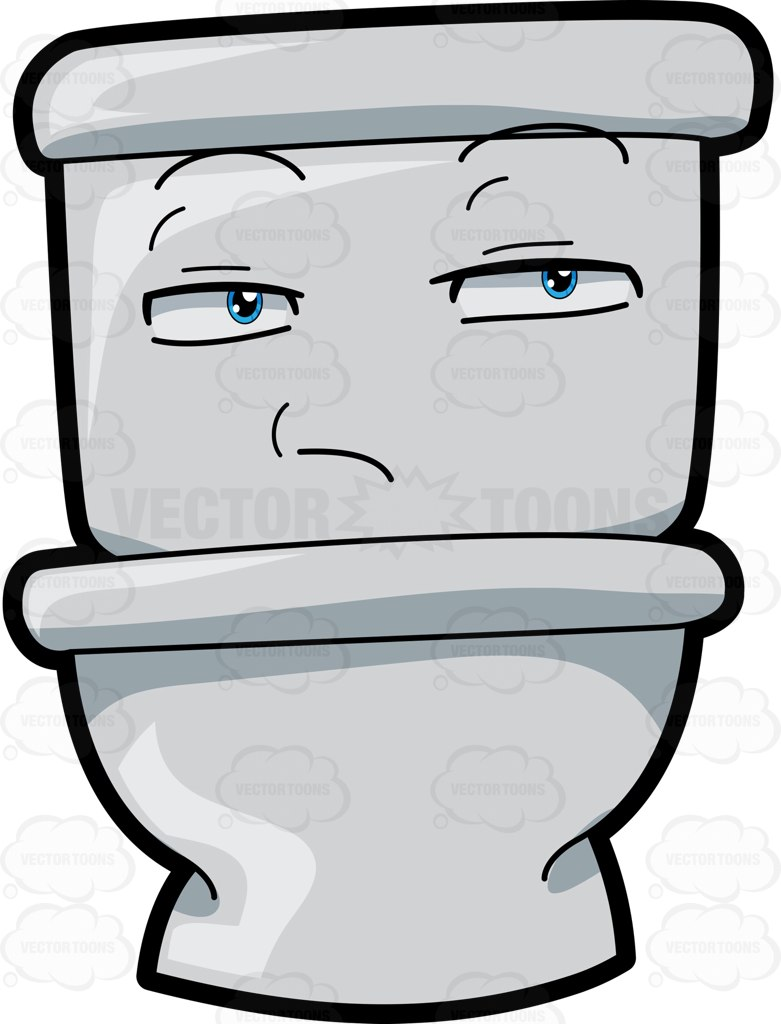 A Bitchy Toilet Seat Cartoon Clipart.