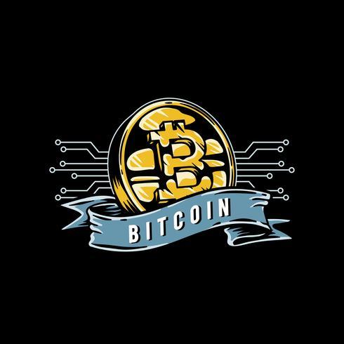 Hand drawn bitcoin icon illustration.