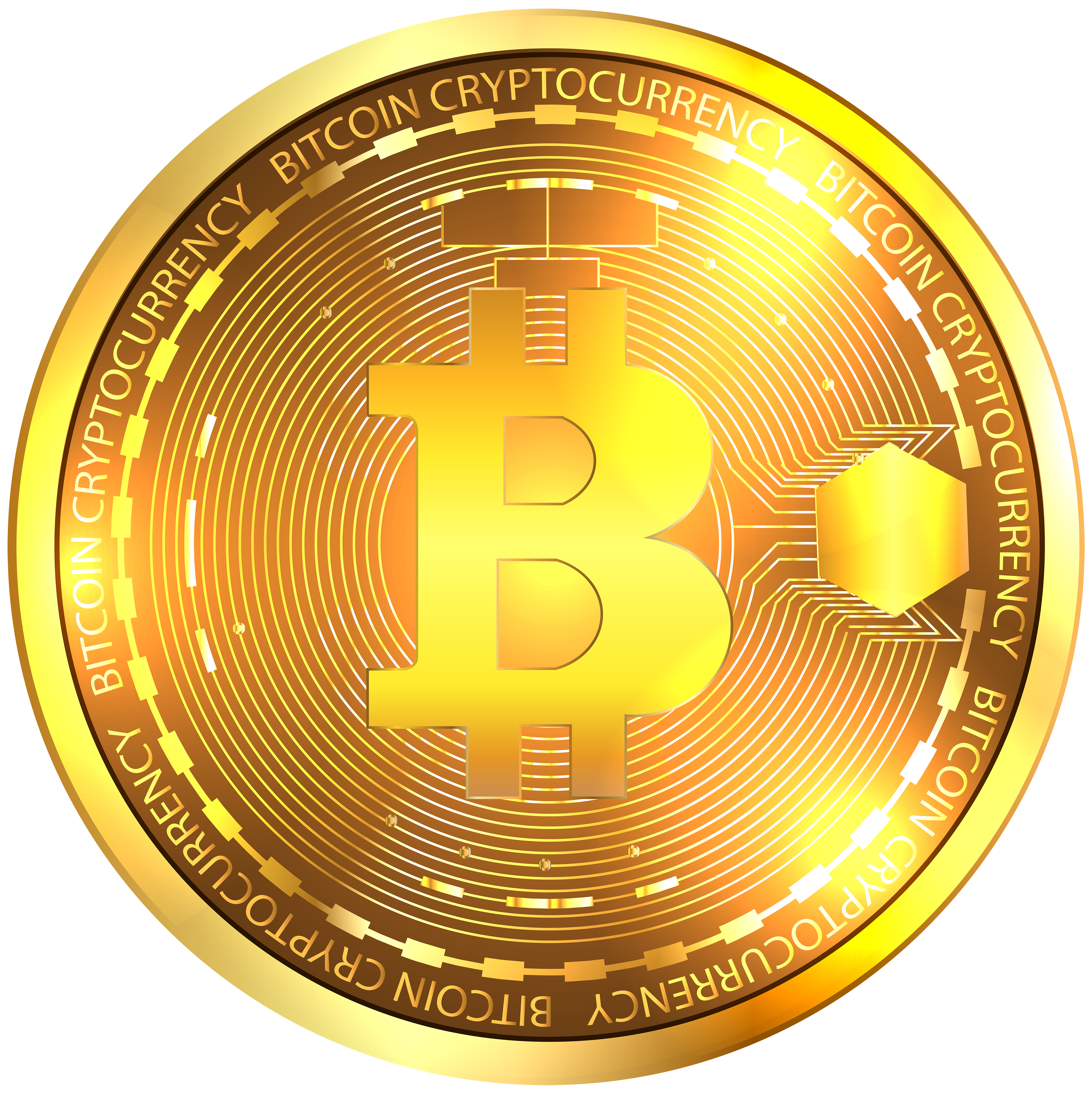 Bitcoin Gold PNG Clipart Image.