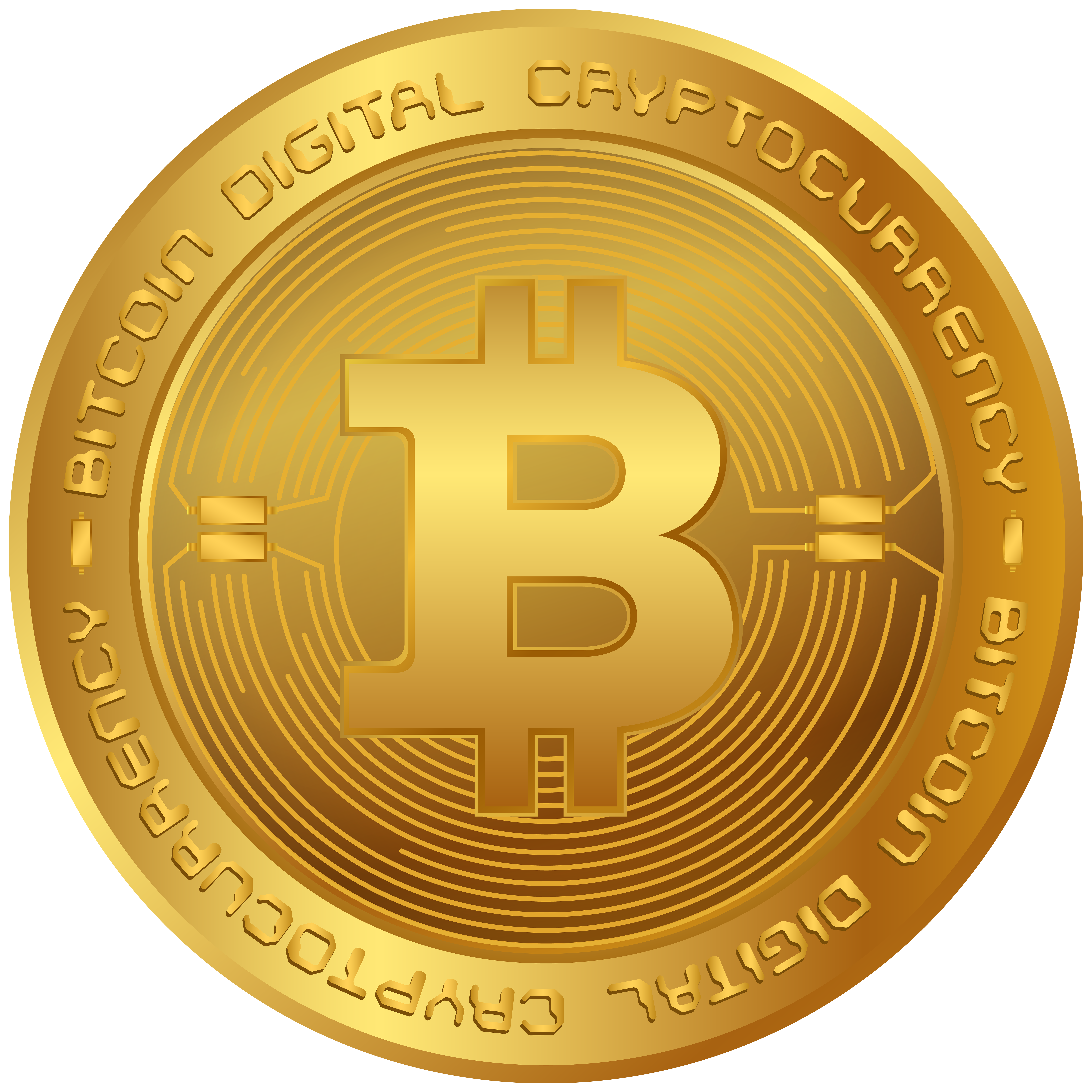 Bitcoin BTC Cryptocurrency PNG Clip Art Image.