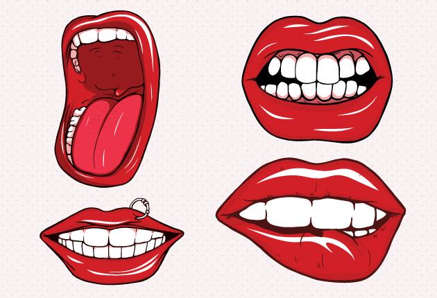 Sexy lips vector set.