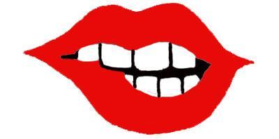 Lip Bite Clip Art for Design.