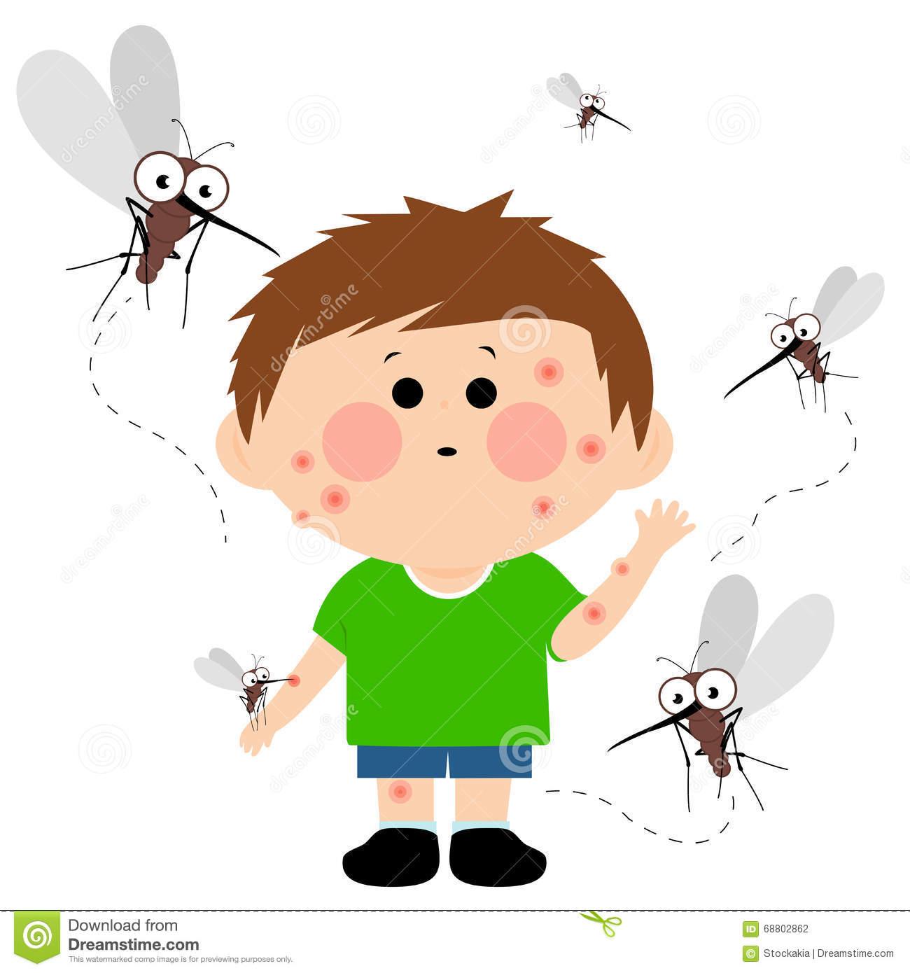 Boy Bitten By Mosquitoes Stock Vector.