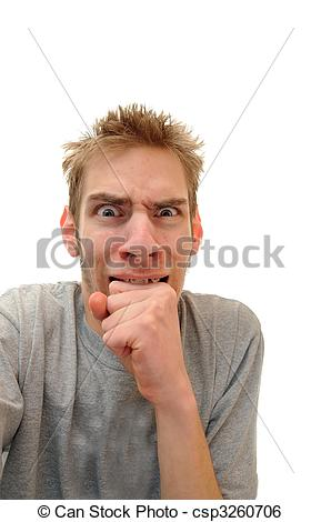 Stock Image of Man biting down on hand.