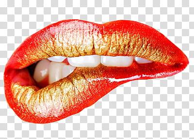 Lip teeth biting on lower lip illustration transparent.