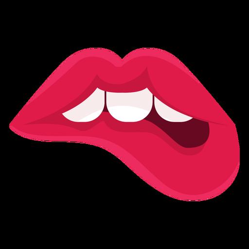 Female lips biting icon.