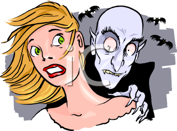 Vampire Biting a Woman on the Neck.
