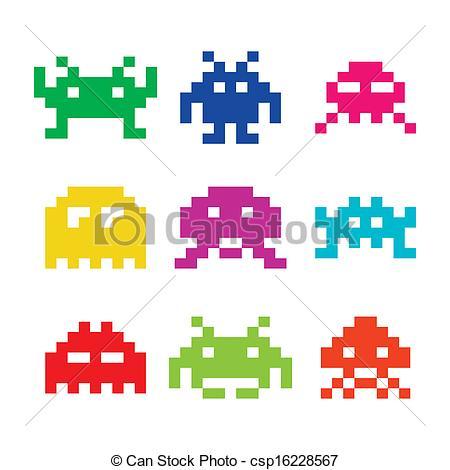 8 bit video game clip art.