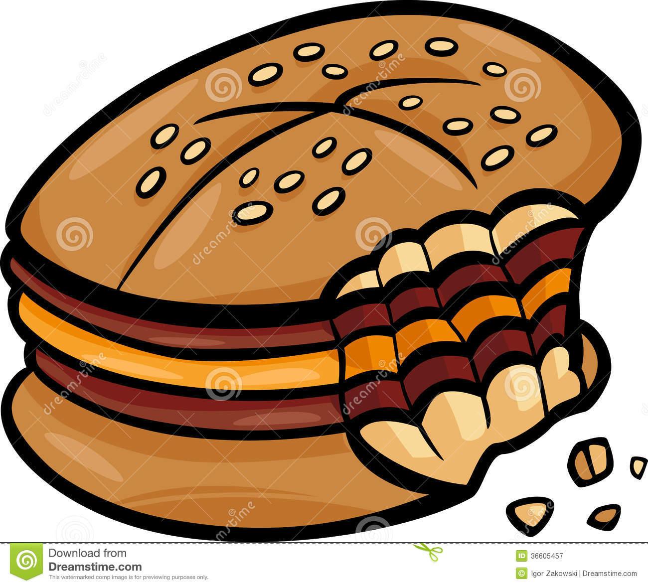 Bitten Cheeseburger Cartoon Clip Art Royalty Free Stock.