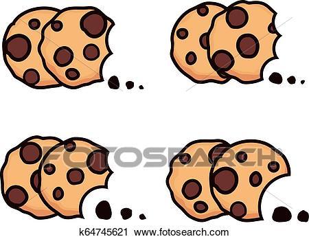 Vector set of chocolate chip bitten cookies Clipart.
