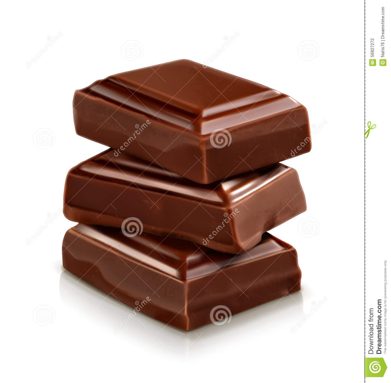 Three Dark Chocolate Pieces Stock Vector.