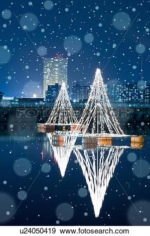 Stock Photograph of Illuminated Christmas Trees by Lake Biwa. Otsu.