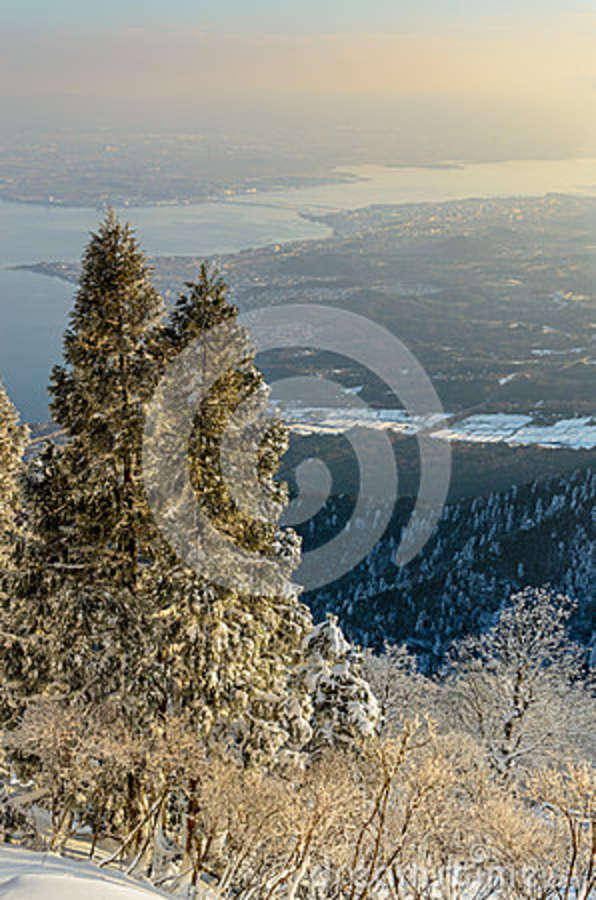 Lake Biwa From Horai Mountain Shiga Japan Stock Photo.