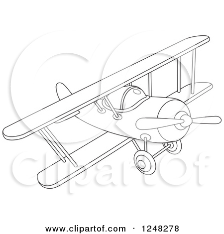 Clipart of a Colorful Biplane Flying.