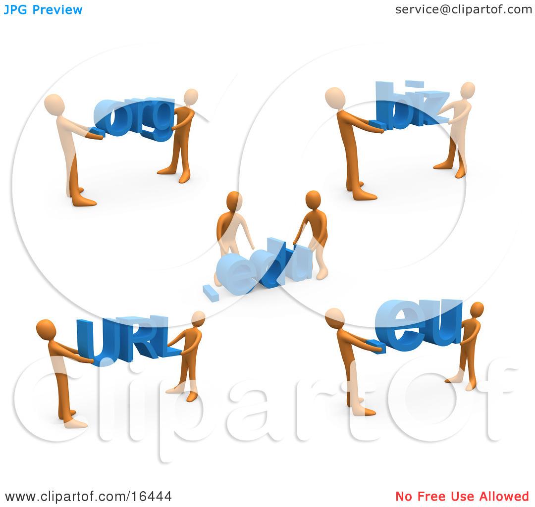 Orange People Carrying Dot Org, Edu, Biz, URL, and Eu Clipart.