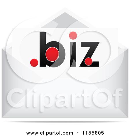 Vector Clipart Of A Red Dot Biz Postmark Stamp.