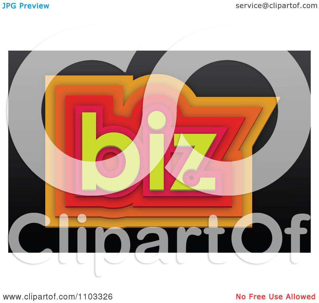 Clipart 3d Orange Red And Yellow Biz On Black.