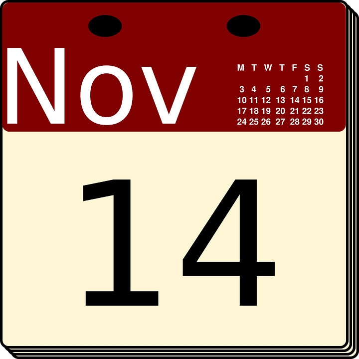 Free vector graphic: Calendar, November, Date, Day.