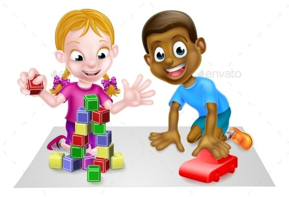 Cartoon Boy and Girl Playing with Car and Blocks #Girl, #Boy.