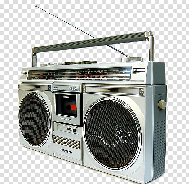 Gray and black Onkyo radio illustration, 1980s Boombox.