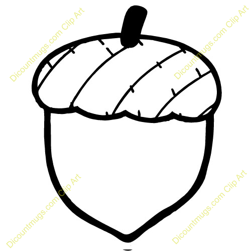 Acorn Black And White Clipart.