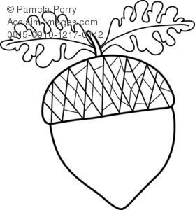 Black and White Clip Art Illustration of an Acorn.