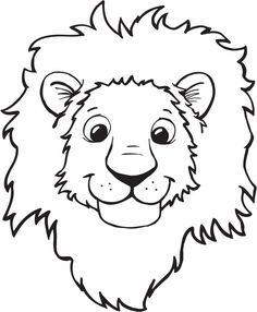 lion head clipart for kids black and white #18