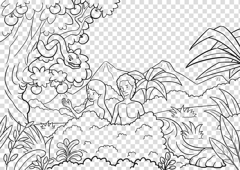 Adam and Eve Garden of Eden Coloring book Bible Child, Adam.