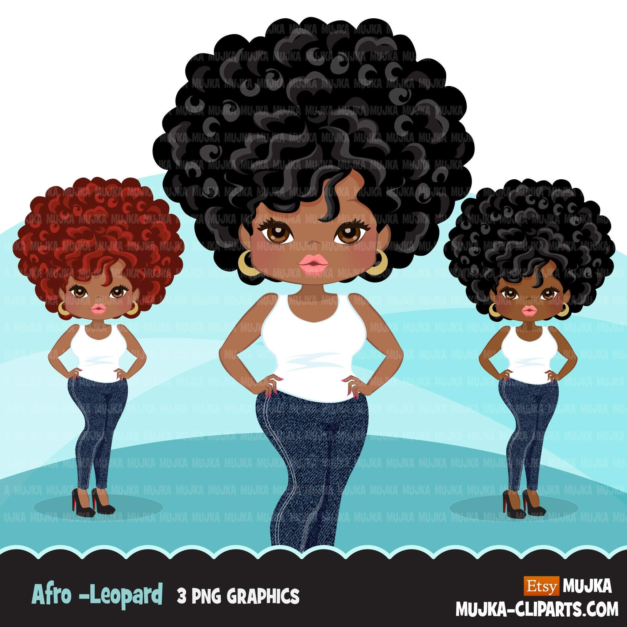 Afro black woman clipart with jeans and t.
