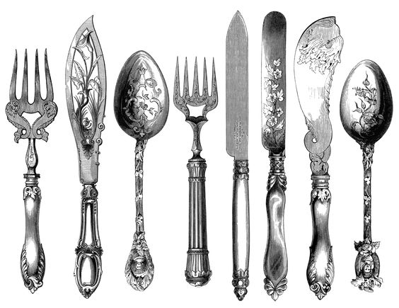 vintage cutlery clipart, cutlery engraving, fork knife spoon.