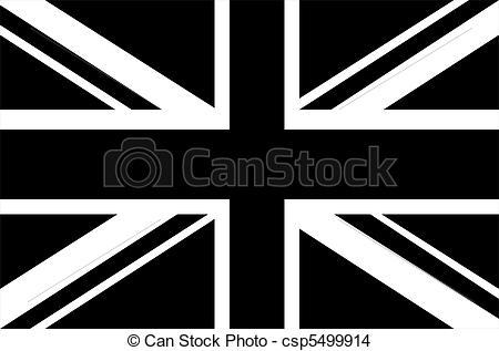 Drawing of Black & white Union Jack flag csp5499914.