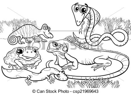EPS Vector of reptiles and amphibians coloring page.