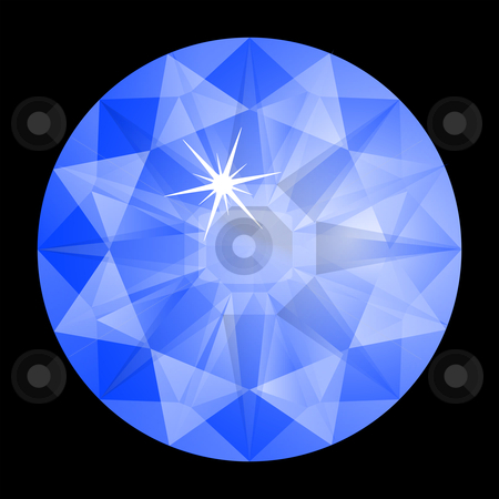 Blue diamond against black stock vector.